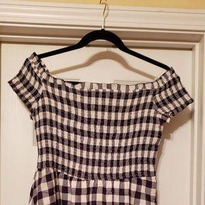 NWT Gingham print midi dress 100%cotton